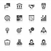 Business Flat Icons With Reflection