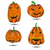 Halloween Pumpkin set isolated on white. Scary Jack.