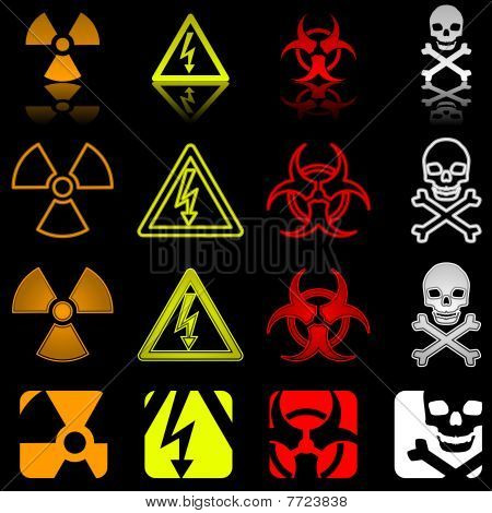 Four danger icons in various