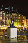 Statue Of Marmaid At Old Town Market Place In Warsaw, Poland