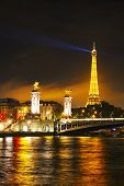 Paris Cityscape With Eiffel Tower At Night