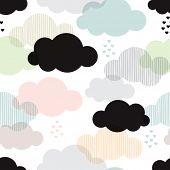 foto of rain cloud  - Seamless vintage style clouds love rain illustration background pattern in vector - JPG