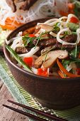 Salad Of Rice Noodles With Shiitake And Vegetables. Vertical