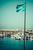 Flag Of Spanish Asturias Autonomous Community Waving In The Wind Detail