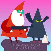 Ultra trendy Santa Claus arrested the thief who stole Christmas gift 2015. Vector illustration