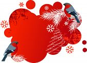 Red winter banner with bullfinches.