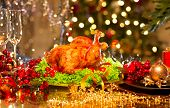 picture of roast duck  - Christmas table setting with turkey - JPG