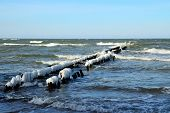 Breakwater Covered With Ice