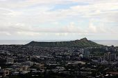 pic of waikiki  - Aerial view of Diamondhead Kapiolani Park Waikiki Ala Wai Canal Kapahulu town Pacific ocean clouds and Golf Course on Oahu Hawaii. October 2014.