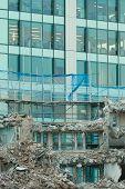 Ruins Of Building Under Destruction, Urban Scene.