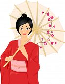 Illustration Featuring a Woman Wearing a Kimono and Holding a Japanese Parasol