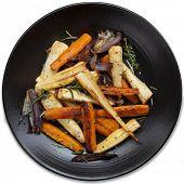 pic of parsnips  - Roasted root vegetables in black platter - JPG