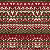 Christmas Sweater Design. Seamless Knitted Pattern In Traditional Fair Isle Style
