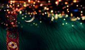 Turkmenistan National Flag Light Night Bokeh Abstract Background