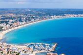 mallorca, can picafort, sant pere  aerial shot city, beach and sea