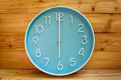Large Clock Face On Wood Background.