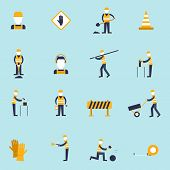 Road worker flat icon