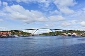 Queen Juliana bridge crossing Saint Anna bay at the harbor of Willemstad, Curacao