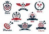 Darts heraldic sports emblems and symbols