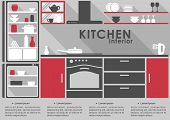 Kitchen Interior flat design with long shadows