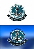 Nautical badges with ships anchors