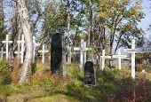 BJORKLIDEN, SWEDEN White crosses in a cemetery