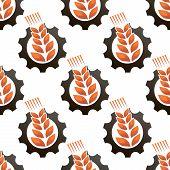 Wheat or barley inside a gear seamless pattern