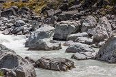 foto of hooker  - Hooker River in Aoraki national park New Zealand - JPG