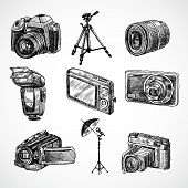 Camera sketch icons set