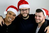 three men drunk at Christmas