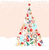 Snowy background with Christmas tree with toys