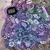 Social media doodles elements watercolor art background.
