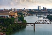 pic of knoxville tennessee  - View of downtown Knoxville from a bluff above the Tennessee River - JPG