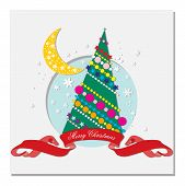 pic of crescent-shaped  - card with Christmas tree - JPG