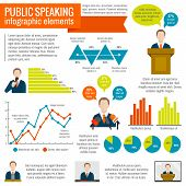 stock photo of minister  - Public speaking presentation seminar conference broadcast infographic elements set vector illustration - JPG