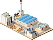 foto of boiler  - Isometric factory consists of a hangar boiler boiler room and storage - JPG