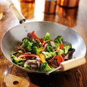 picture of chinese wok  - chinese wok with beef and vegetable stir fry - JPG