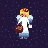 picture of deed  - Christmas angel symbolic figure with book of good deeds and basket sweets on blue background with snowflakes - JPG