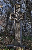 foto of dracula  - bran romania dracula castle medieval stone cross - JPG