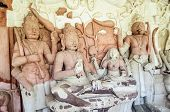 Ancient Stone Curved Sculptures Of Hindu Gods And Godess