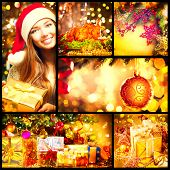Christmas collage. Beautiful set of New Year celebration images. Happy young woman with gift box, holiday baubles, Christmas tree, Christmas dinner, beauty Golden gifts over glowing background