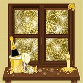 New Year Fireworks And Window Vector
