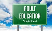 Adult Education on Highway Signpost.