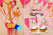 picture of buffet  - Delicious sweet buffet with cupcakes Sweet holiday buffet with cupcakes and meringues and other desserts - JPG