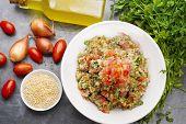 stock photo of quinoa  - Delicious vegetarian quinoa salad with parsley - JPG