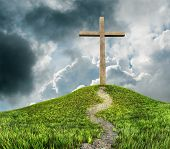 picture of cross hill  - a cross on a hill and clouds - JPG