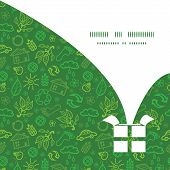 Vector ecology symbols Christmas gift box silhouette pattern frame card template