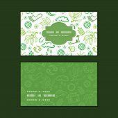 Vector ecology symbols horizontal frame pattern business cards set