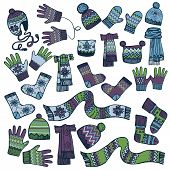 Colored Sketchy.Males knitted clothing accessories set