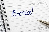 Exercise written on a white calendar page